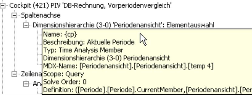 Anzeige der technischen Informationen eines Objektes bei Zeigen der Maus und gleichzeitigem Drücken der AltTaste