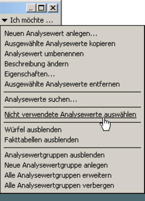 Nicht verwendete Analysewerte auswählen im Menü Modell