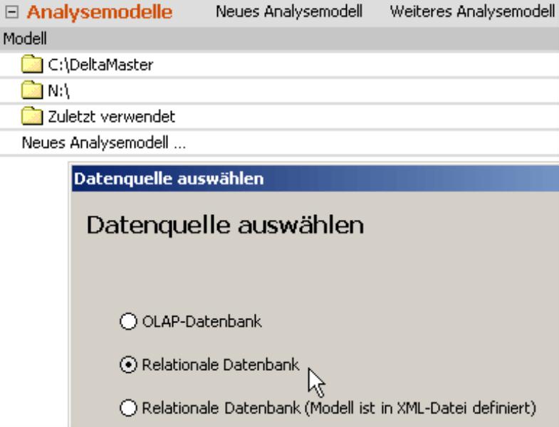 Datenquelle auswählen mit Kontrollkästchen für OLAP-Datenbank, Relationale Datenbank oder Relationale Datenbank (Modell ist in XML-Datei definiert)