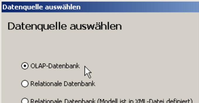 Datenquelle auswählen für eine OLAP-Datenbank
