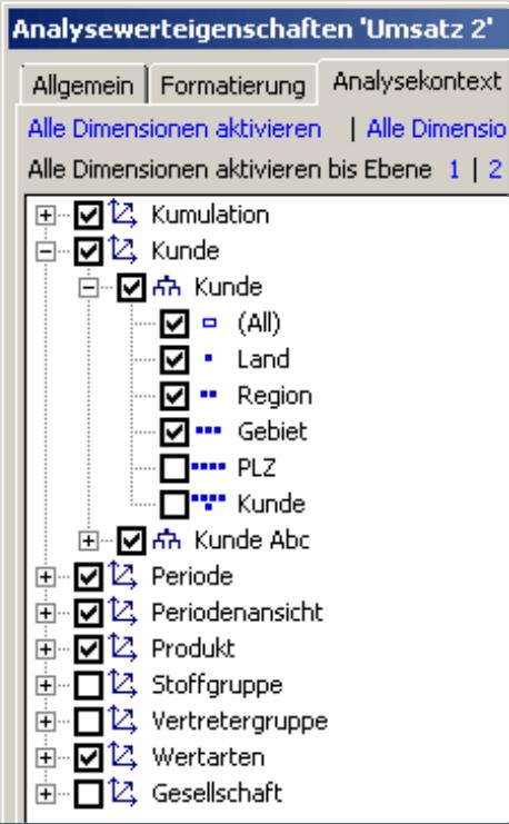 deaktivierte Dimensionen auf der Registerkarte Analysekontext
