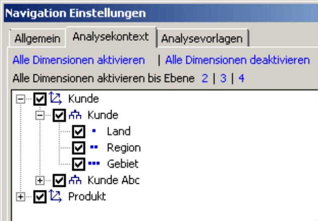 Registerkarte Analysekontext