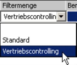 leeres Feld, Standard oder Vertriebscontrolling im Feld Filtermenge