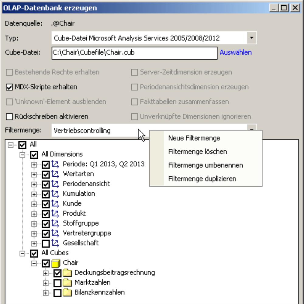 Filtermenge in der OLAP-Datenbank