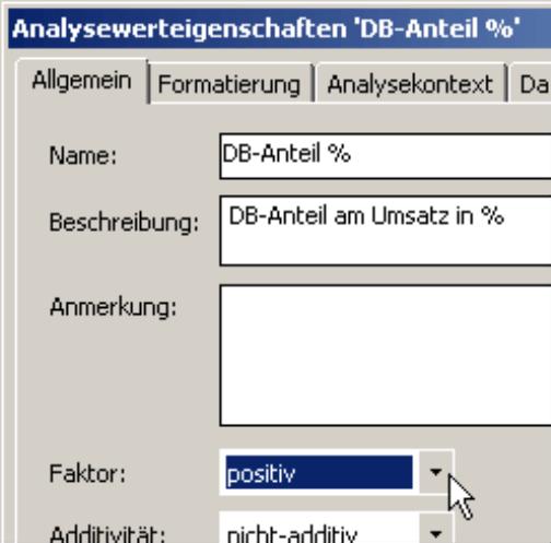positive bzw. negative Faktoren einstellen auf der Registerkarte Allgemein in den Analysewerteigenschaften