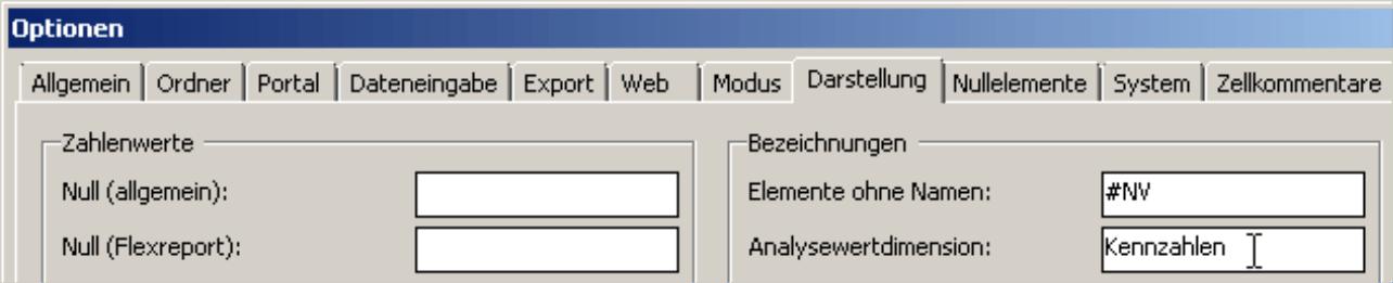 Analysewertdimension auf der Registerkarte Darstellung in den Optionen