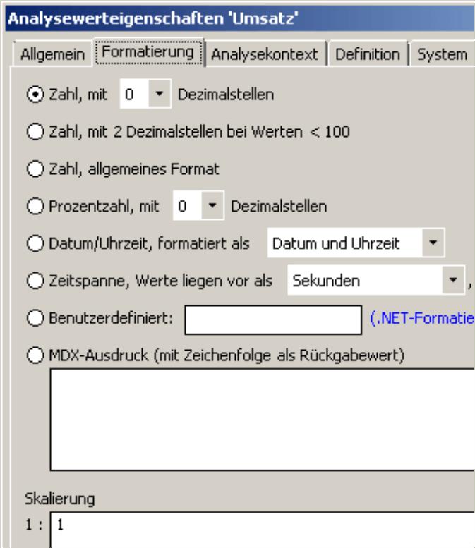 Zahl, mit 0 Dezimalstellen als automatischer Vorschlag für die Formatierung