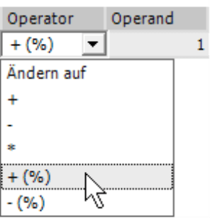 Ändern auf +, -, =, +(%) oder -(%)