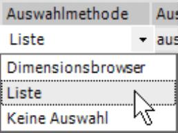 Auswahlmethode mit Optionen Dimensionsbrowser, Liste oder keine Auswahl