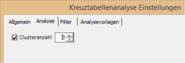 Clusteranzahl in der Registerkarte Analyse in Kreuztabellenanalyse Einstellungen