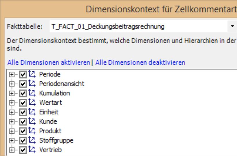 Dimensionskontext für Zellkommentartabellen mit Auswahl Fakttabelle