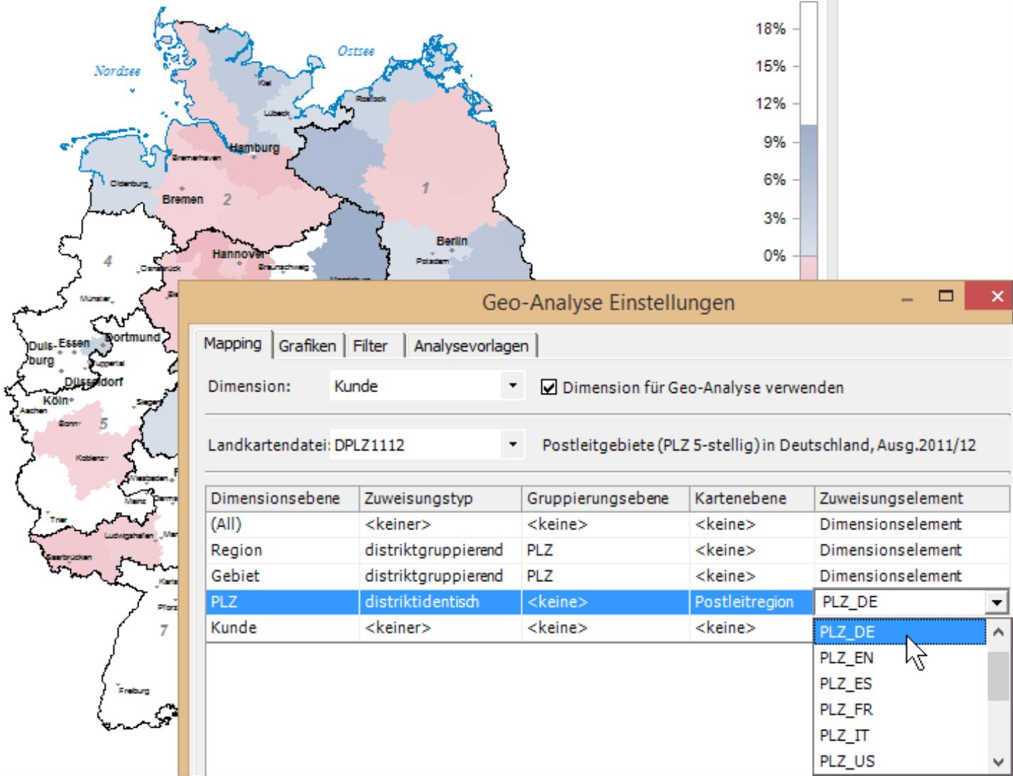 Geo-Analyse Einstellungen mit der Registerkarte Mapping, über die DeltaMaster eine Verknüpfung zwischen Landkarte und Organisationseinheit herstellen kann