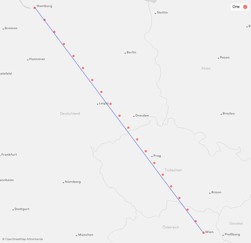 Kürzeste Verbindung auf der Karte (blau gestrichelt) und in Wirklichkeit (rote Marker)