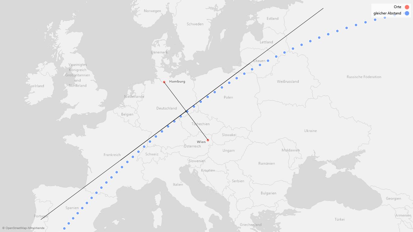 Blaue Punkte: Gleiche Abstände von Hamburg und Wien
